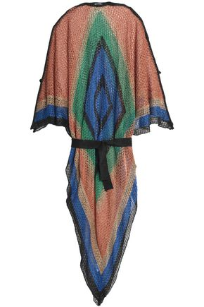 BALMAIN Color-block open-knit kaftan