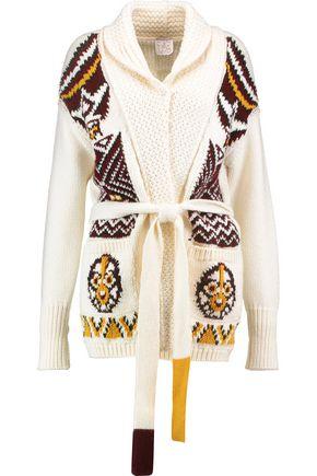 STELLA JEAN Belted intarsia wool-blend cardigan