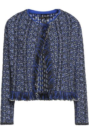 MAJE Marius fringed metallic bouclé jacket