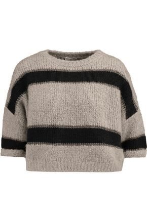 BRUNELLO CUCINELLI Cropped striped ribbed-knit alpaca-blend sweater