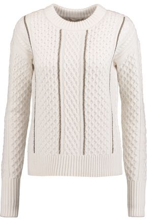 MICHAEL MICHAEL KORS Chain-embellished cable-knit sweater