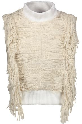 SEA Fringed cotton-blend bouclé turtleneck sweater
