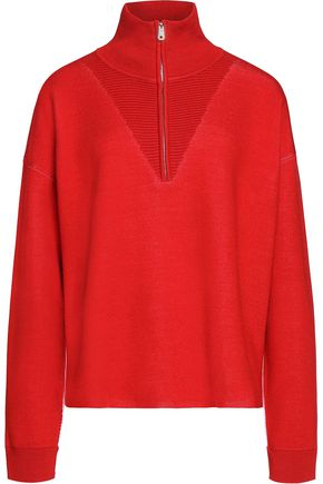 SANDRO Paris Ribbed-knit trimmed stretch-knit sweater