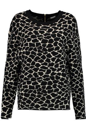 DKNY Printed stretch-knit sweater