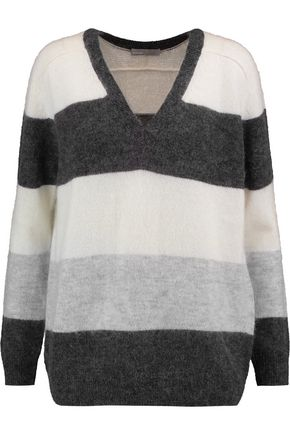 VINCE. Striped stretch-knit sweater