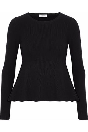 TOTÊME Ribbed-knit wool-blend peplum sweater