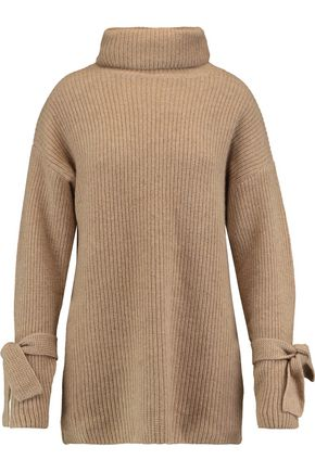 N.PEAL Oversized ribbed cashmere turtleneck sweater