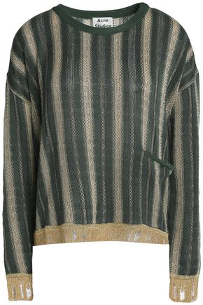 ACNE STUDIOS Metallic striped crochet-knit sweater