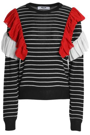 MSGM Ruffled striped knitted sweater