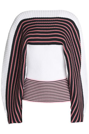 MSGM Striped ribbed cotton sweater