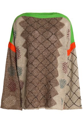 ACNE STUDIOS Intarsia linen and wool-blend sweater