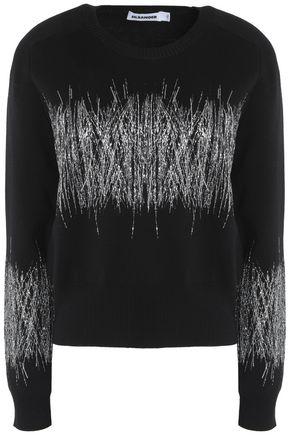 JIL SANDER Metallic embroidered wool sweater