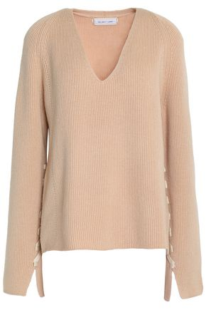 HELMUT LANG Lace up-detailed ribbed wool and cashmere-blend sweater