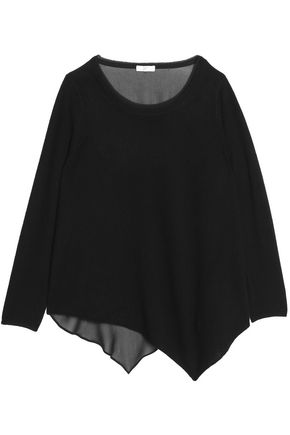 JOIE Asymmetric cashmere and silk-blend top