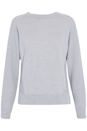 BELSTAFF Ribbed-paneled wool, silk and cashmere-blend sweater