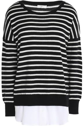 JOIE Layered striped wool and cashmere-blend sweater