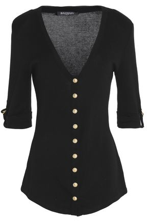 BALMAIN Stretch-cotton cardigan