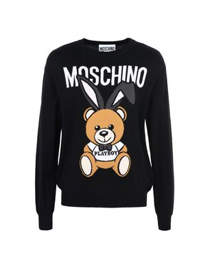 Teddy Bear And Safety Pin Print Sweater, Black