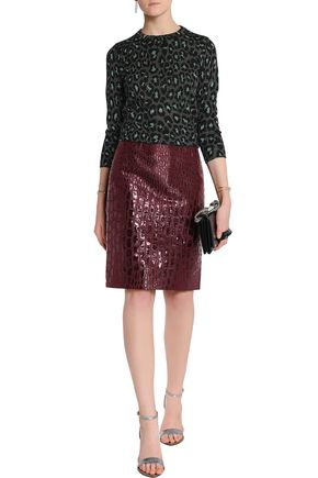Marc By Marc Jacobs Woman Cropped Metallic Wool-blend Jacquard Sweater Charcoal
