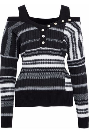 DEREK LAM 10 CROSBY Cold-shoulder ribbed wool sweater