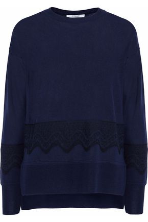 DEREK LAM 10 CROSBY Lace-trimmed silk and cashmere-blend sweater
