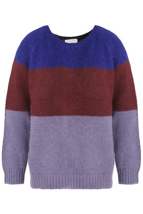 Maison Kitsuné Woman Color-block Alpaca-blend Sweater Lavender Size S Maison Kitsuné Clearance Find Great fRK9o6Mzz