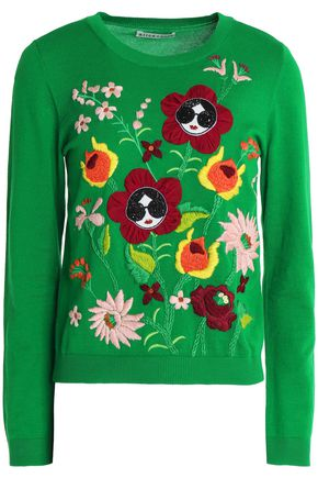 ALICE + OLIVIA Embellished embroidered cotton-blend sweater