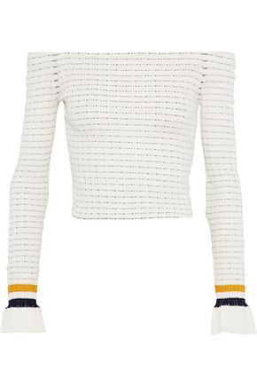 3.1 PHILLIP LIM Off-the-shoulder striped cotton-blend sweater