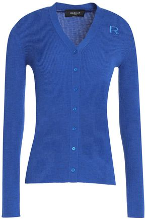 ROCHAS Embroidered ribbed-knit virgin wool cardigan