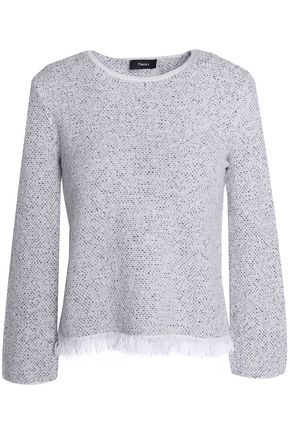 THEORY Fringed wool and cotton-blend sweater