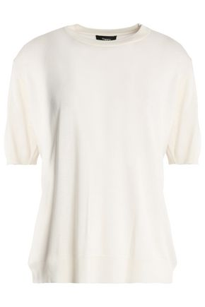 THEORY Knitted silk-blend top