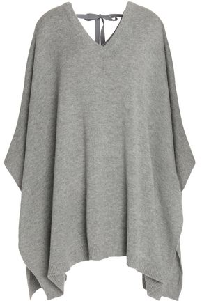 THEORY Bow-detailed wool and cashmere-blend poncho