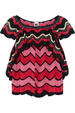M MISSONI Ruffled crochet-knit cotton-blend top