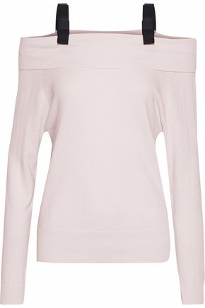 RAOUL Off-the-shoulder bow-embellished cotton-blend sweater