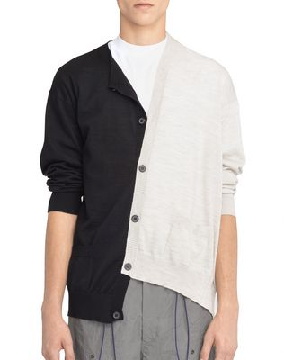 BLACK AND WHITE DOUBLE-BUTTONED CARDIGAN