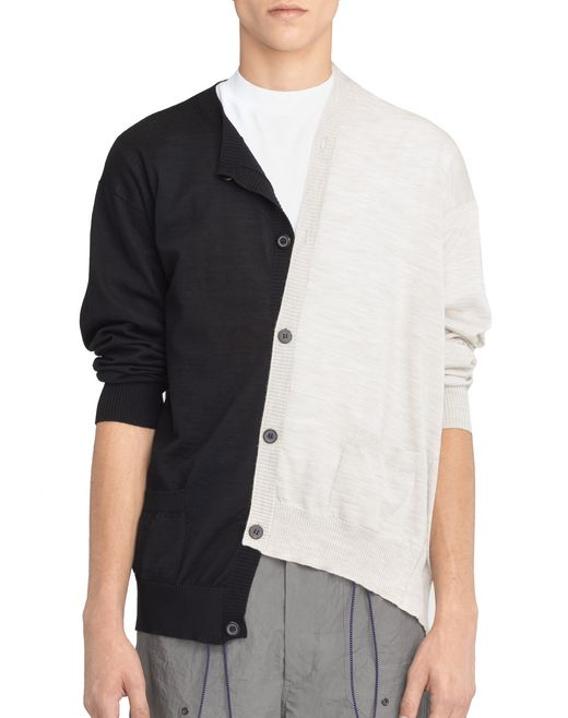 lanvin black and white double-buttoned cardigan men