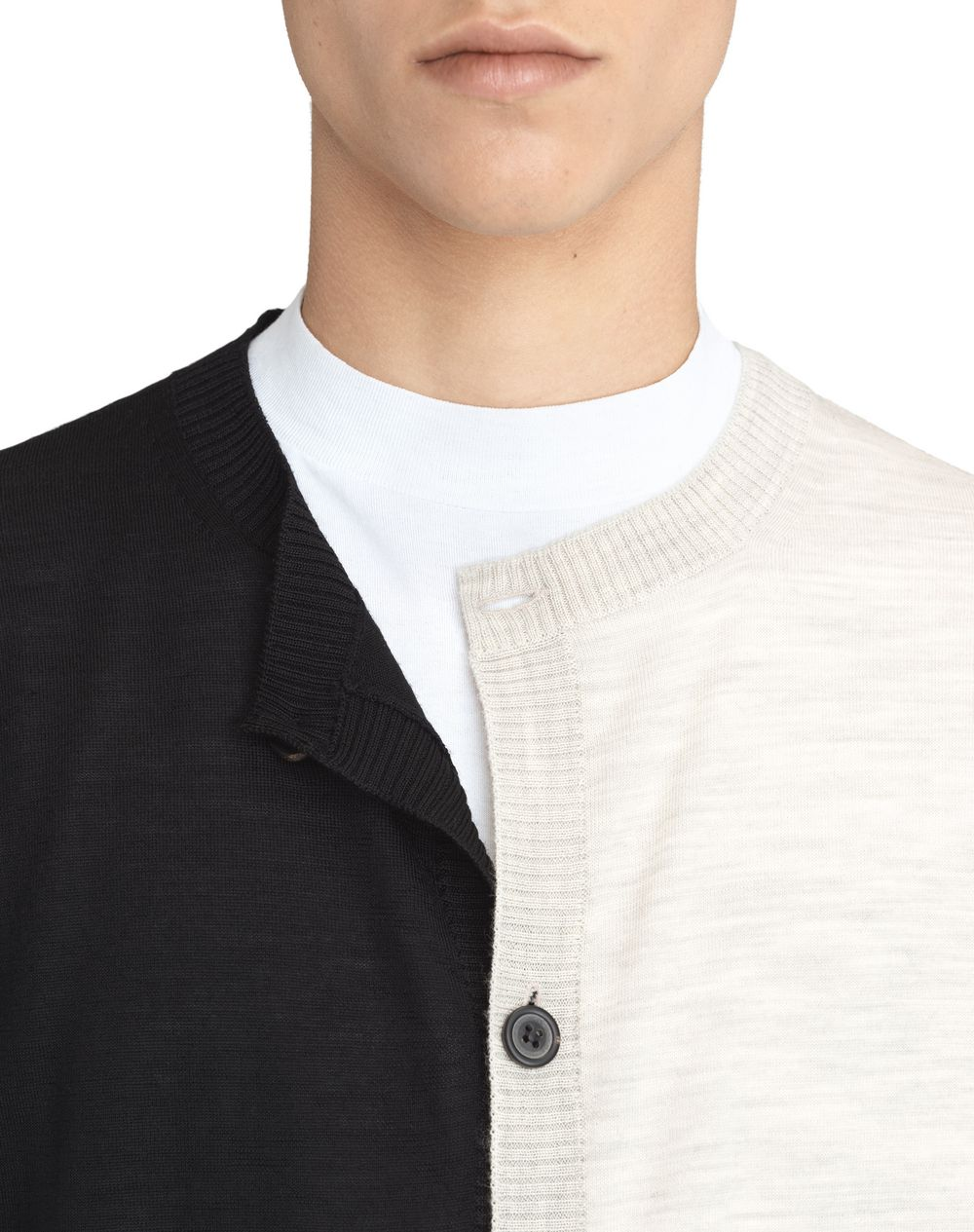 BLACK AND WHITE DOUBLE-BUTTONED CARDIGAN - Lanvin