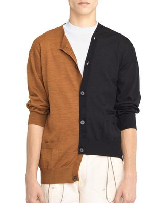 BLACK AND ORANGE DOUBLE-BUTTONED CARDIGAN