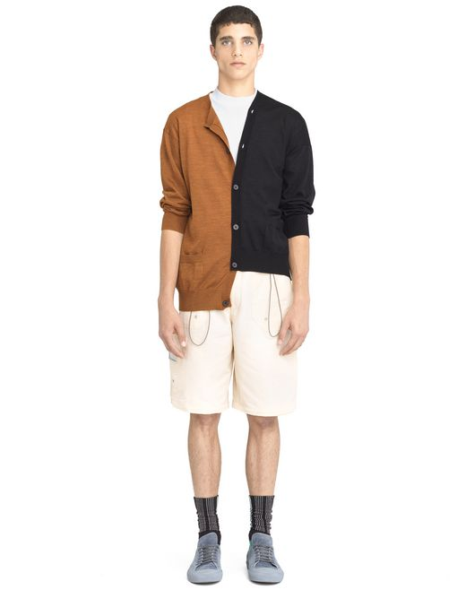 lanvin black and orange double-buttoned cardigan  men