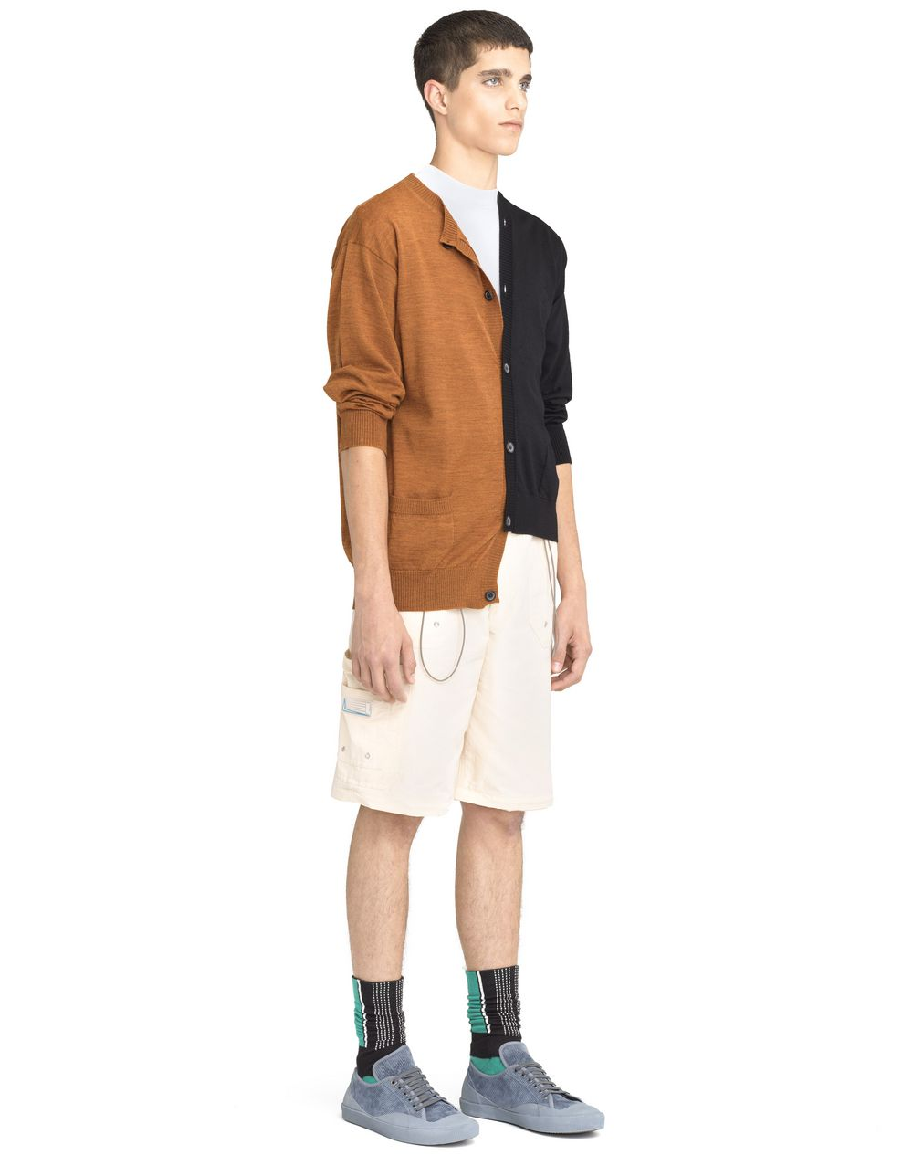 BLACK AND ORANGE DOUBLE-BUTTONED CARDIGAN  - Lanvin