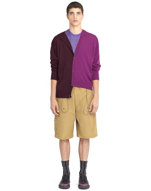 lanvin plum and violet double-buttoned cardigan men