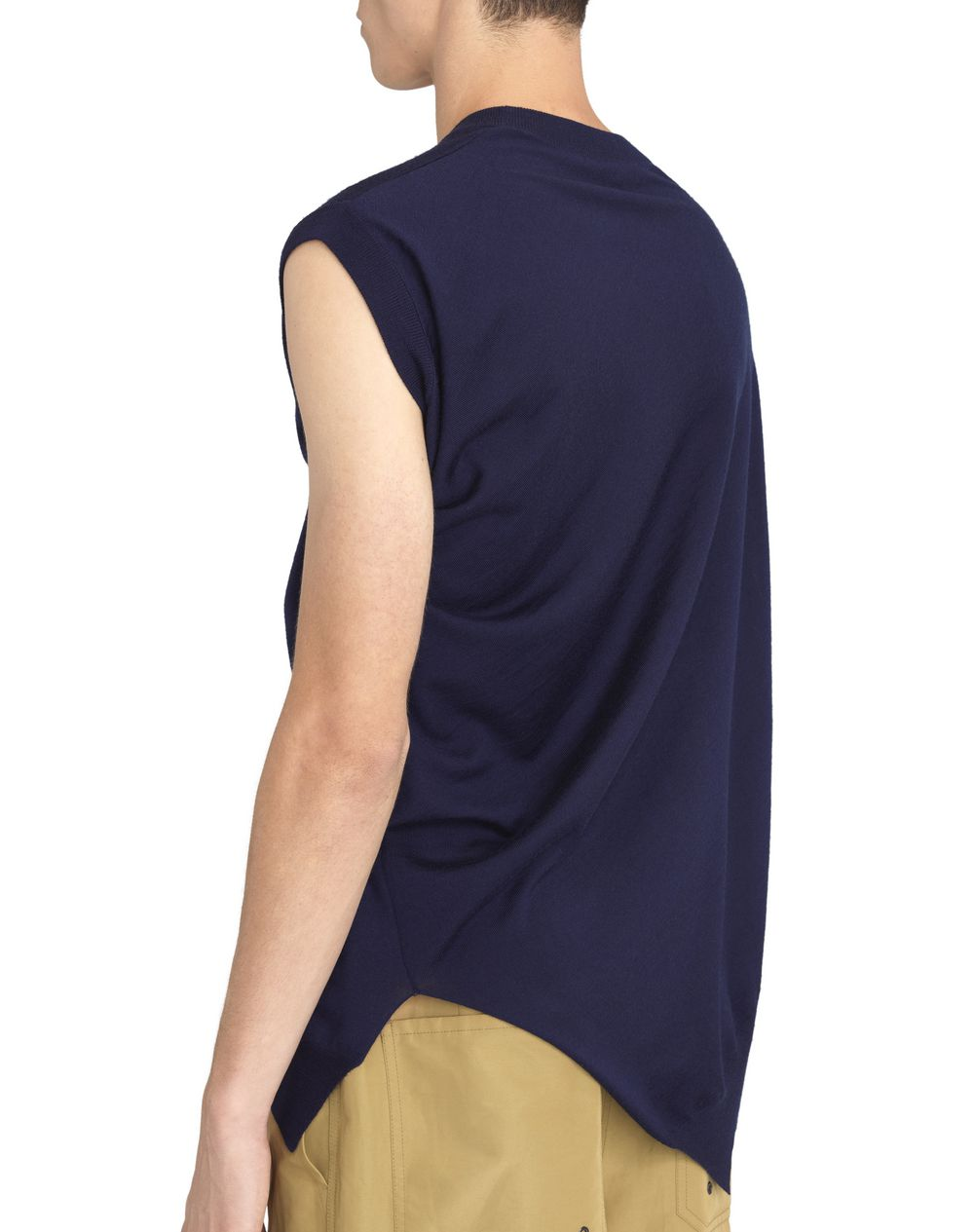 NAVY BLUE ASYMMETRICAL TWISTED SWEATER - Lanvin