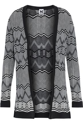 M MISSONI Two-tone intarsia-knit cotton-blend cardigan