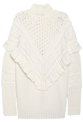 MOTHER OF PEARL Ruffle-trimmed wool-blend sweater