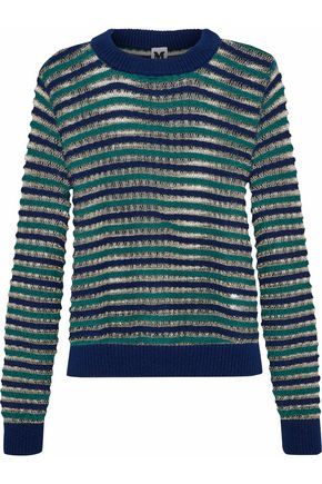 M MISSONI Metallic striped open-knit wool-blend sweater