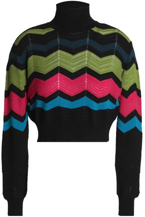 M MISSONI Geometric design stretch-knit turtleneck sweater