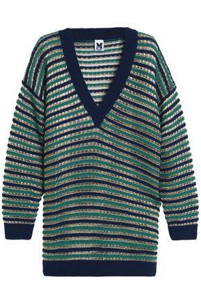M MISSONI Striped crochet-knit wool-blend sweater