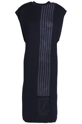 DKNY Striped sateen-paneled ribbed-knit dress