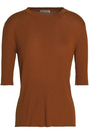 NINA RICCI Ribbed cashmere and silk-blend top
