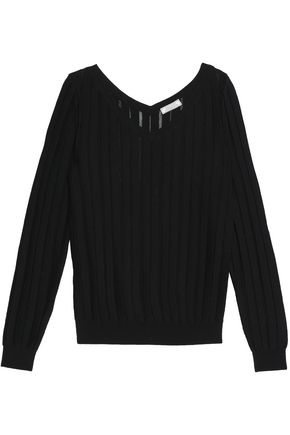 NINA RICCI Open-knit wool and silk-blend top